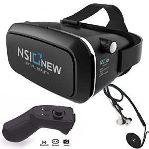 Virtual Reality Headset by NSInew – Truly Immersive VR Headset or 3D VR Glasses for Games – Adjustable, Comfortable & Widely Compatible – Magnetic Front Cover – Includes Bluetooth Remote & Headphone