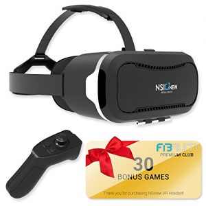 """Virtual Reality Headset by NSInew – Over 30 VR Apps & Bluetooth Remote Included with VR Headset – Compatible with Apple & Android Phones from 4-6"""" Size –360° VR Goggles for 3D Games"""