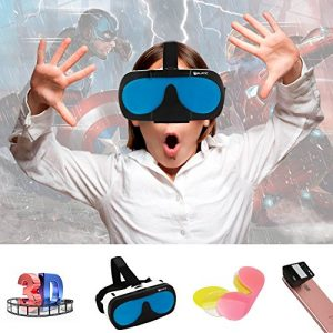 M-BLANC 3D Virtual Reality Headset 3D Glasses VR BOX for 4.7-6 inches iPhone 6/6 Plus/6S Samsung S6/S7/Note3/4 Android Smartphones with Changeable Colorful Lens + 3D Mini Mobile Phone Camera Lens